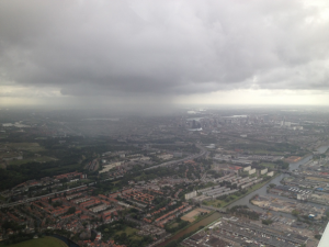 Picture during landing with a private jet at Rotterdam airport