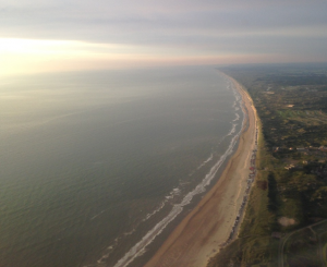 Picture of the beach on our way to Amsterdam in a private aircraft