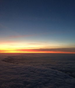 Picture of sunset view from an air taxi