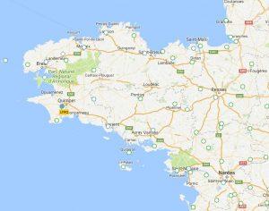 Prive vlucht naar Bretagne Kaart