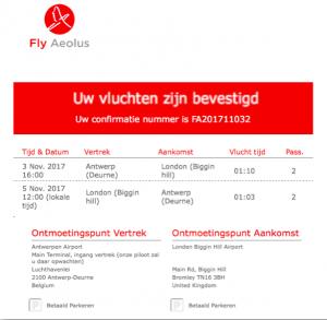 privéjet van Antwerpen naar Londen vlucht bevestiging