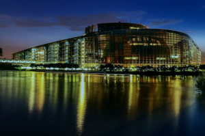 European Parliament Strasbourg night