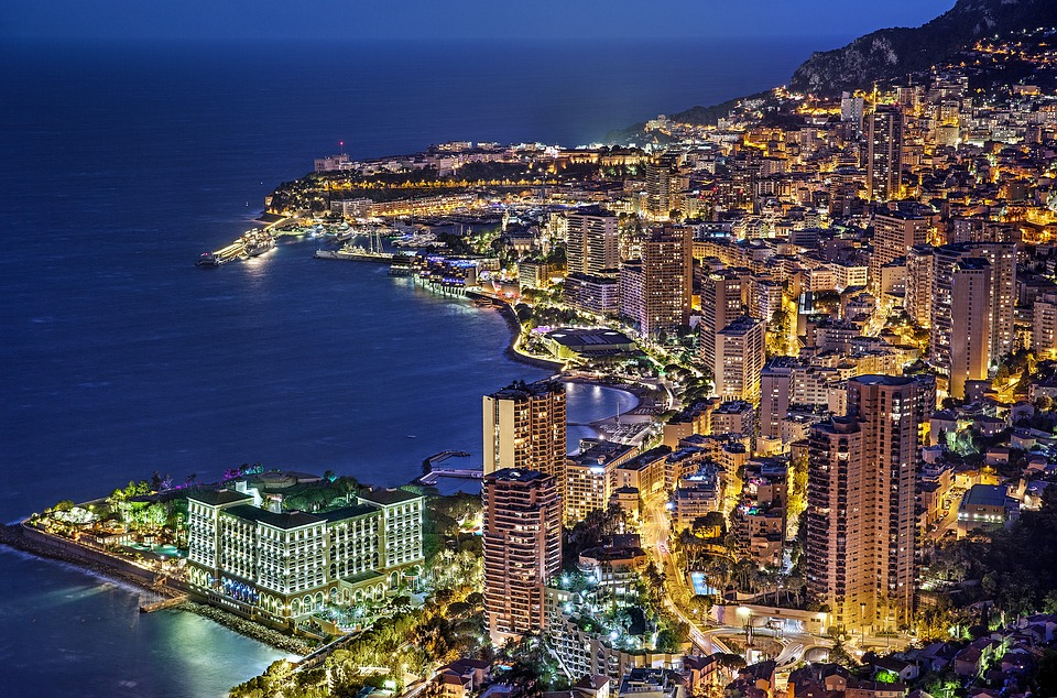 Monaco by night from a private jet