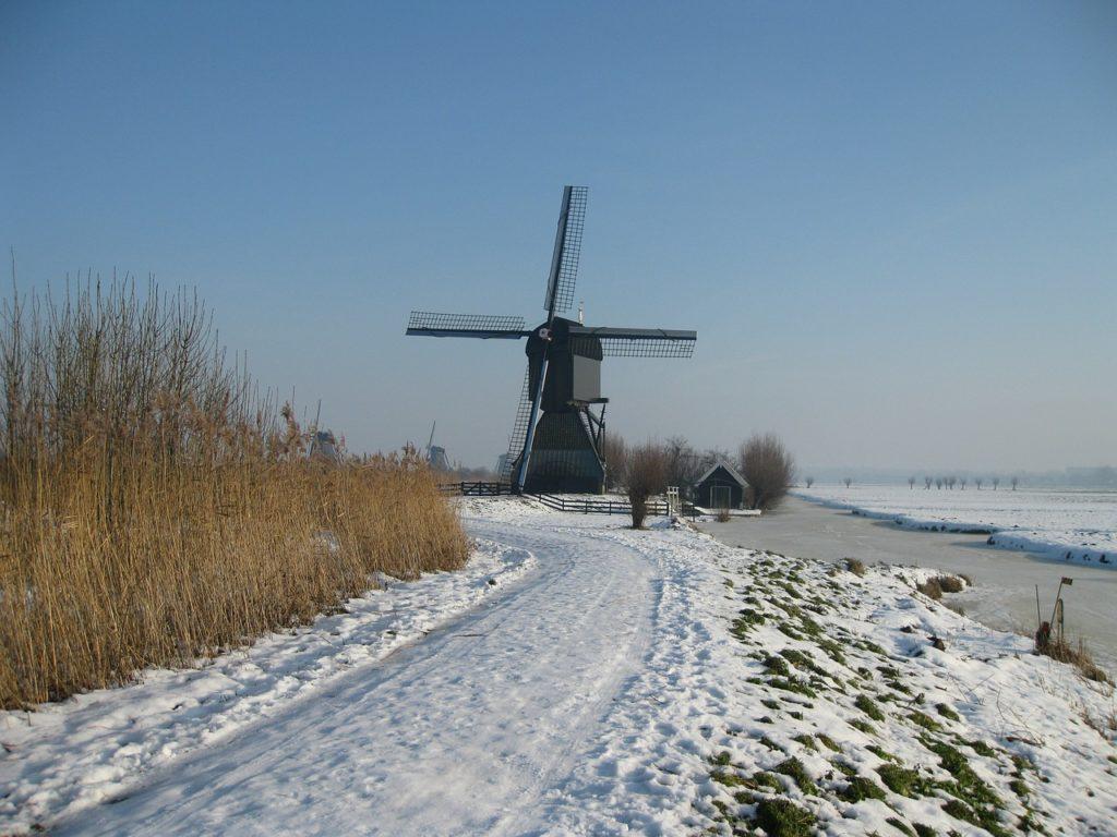 Windmills in Kinderdijk in Winter