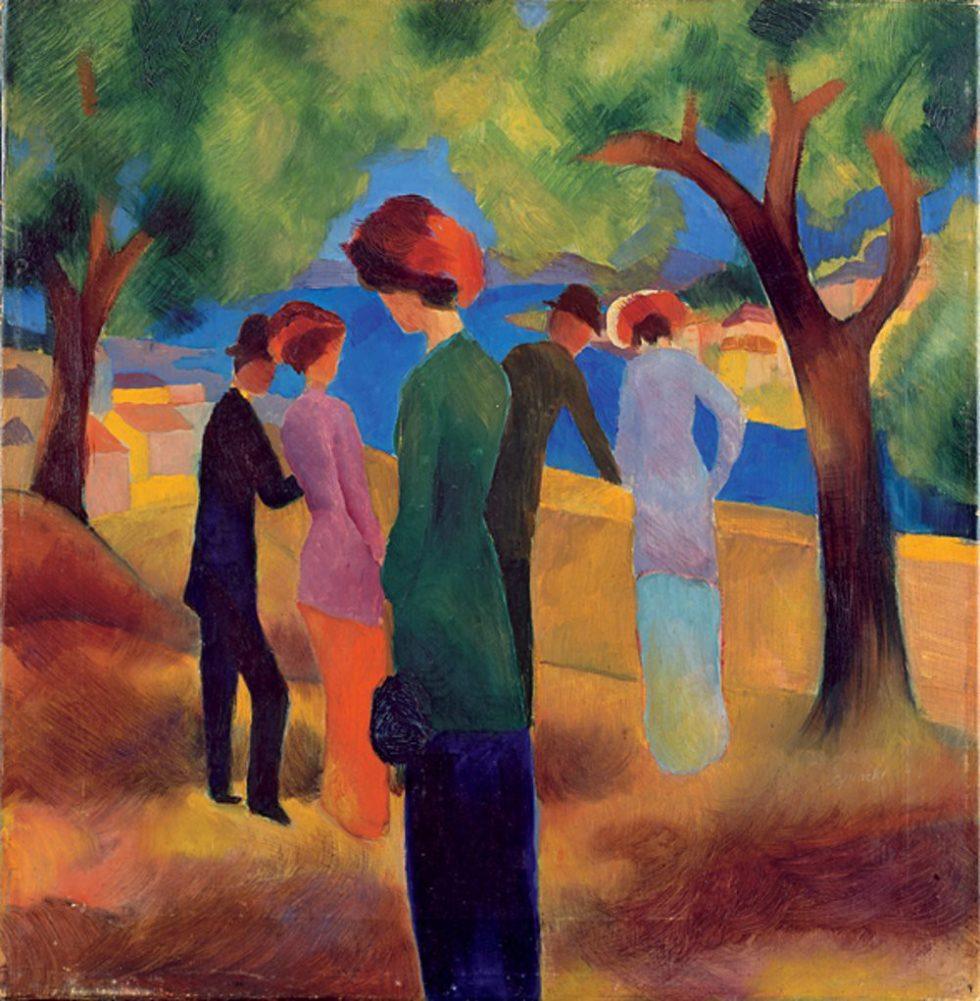 Dame in grüner Jacke von Künstler August Macke