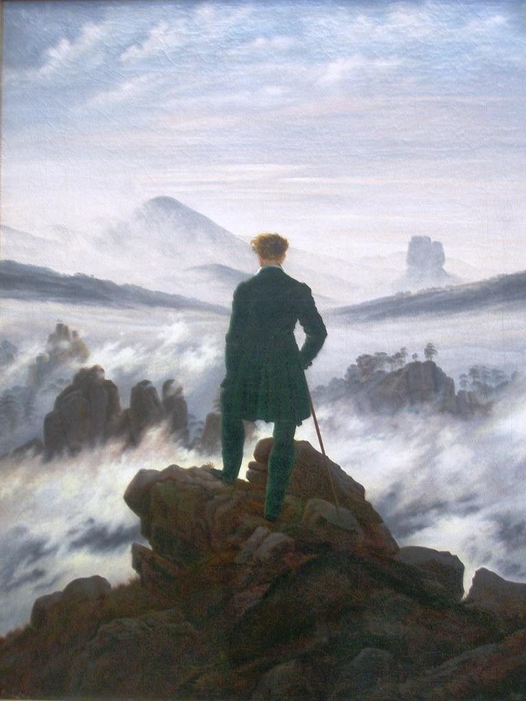 Der Wanderer über dem Nebel von Caspar David Friedrich