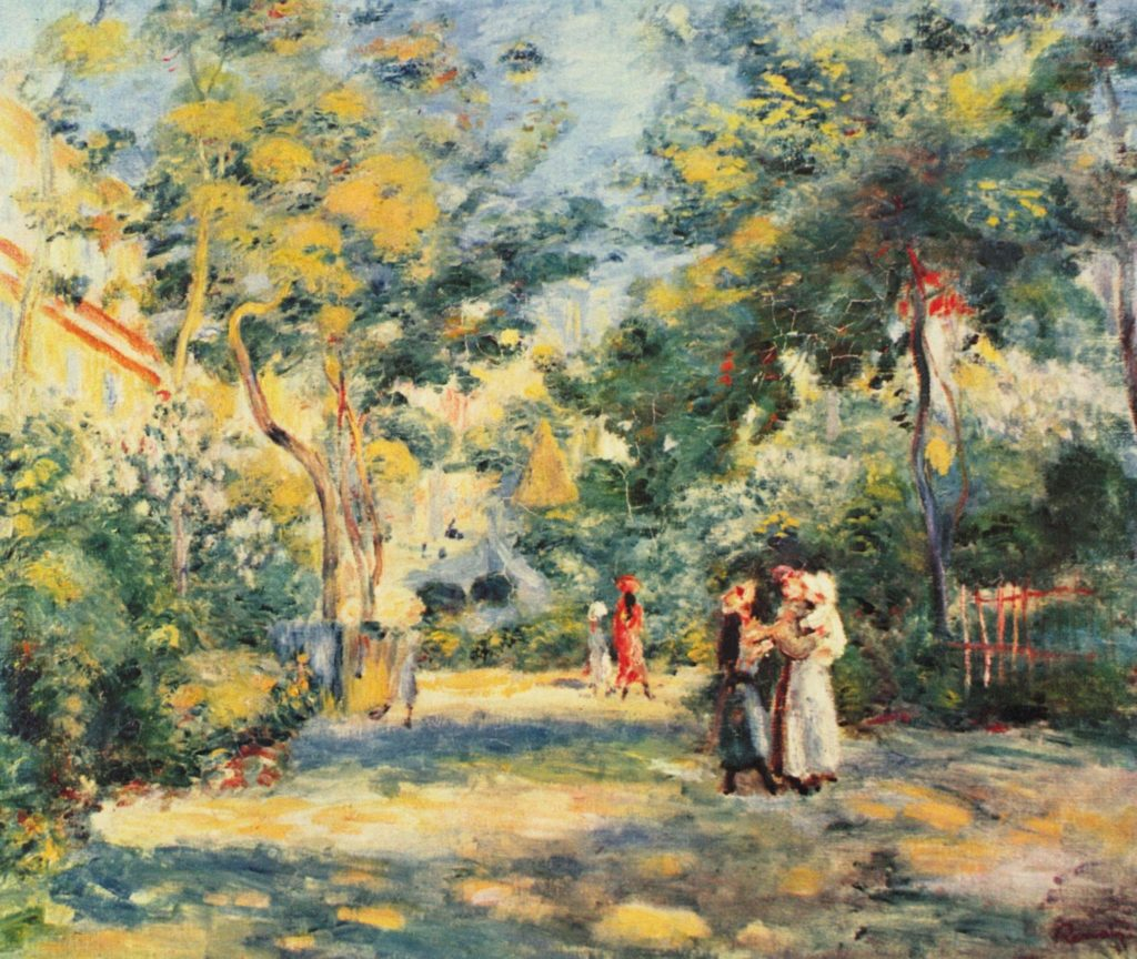 A garden in Montmartre by artists Pierre-Auguste Renoir