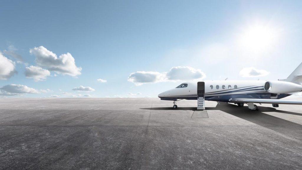 private jet in the sun