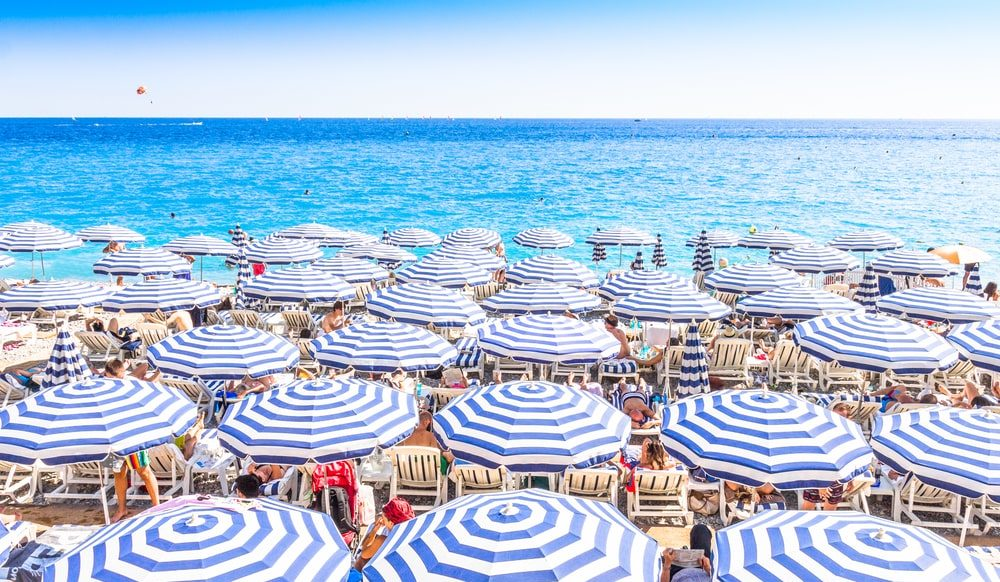 Beaches of Nice and Cote d'Azur seaside